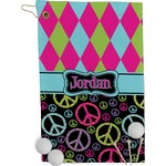 Harlequin & Peace Signs Golf Towel - Full Print (Personalized)