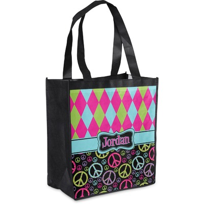 Harlequin & Peace Signs Grocery Bag (Personalized)