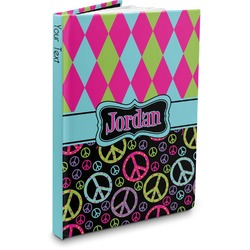 Harlequin & Peace Signs Hardbound Journal (Personalized)