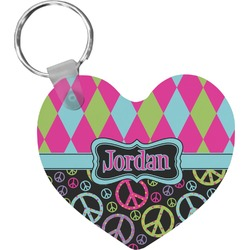 Harlequin & Peace Signs Heart Keychain (Personalized)