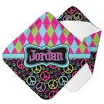 Harlequin & Peace Signs Hooded Baby Towel (Personalized)