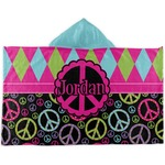 Harlequin & Peace Signs Kids Hooded Towel (Personalized)