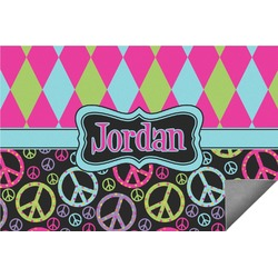 Harlequin & Peace Signs Indoor / Outdoor Rug (Personalized)