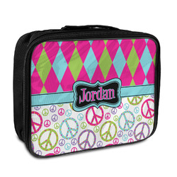 Harlequin & Peace Signs Insulated Lunch Bag (Personalized)