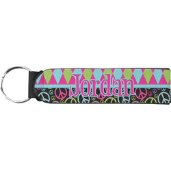 Harlequin & Peace Signs Neoprene Keychain Fob (Personalized)