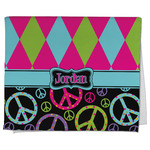 Harlequin & Peace Signs Kitchen Towel - Full Print (Personalized)