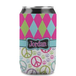 Harlequin & Peace Signs Can Sleeve (12 oz) (Personalized)
