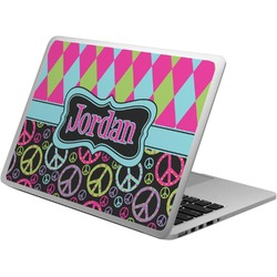 Harlequin & Peace Signs Laptop Skin - Custom Sized (Personalized)