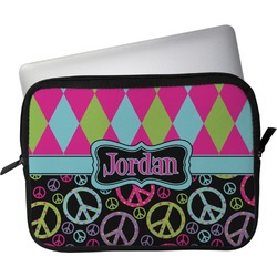 """Harlequin & Peace Signs Laptop Sleeve / Case - 12"""" (Personalized)"""