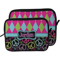 Harlequin & Peace Signs Laptop Sleeve / Case (Personalized)