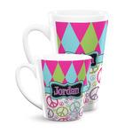 Harlequin & Peace Signs Latte Mug (Personalized)