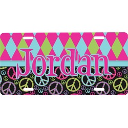 Harlequin & Peace Signs Front License Plate (Personalized)