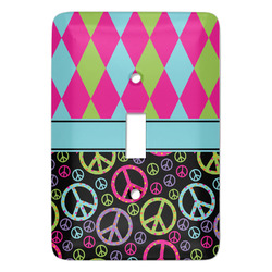 Harlequin & Peace Signs Light Switch Covers (Personalized)