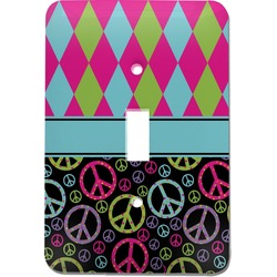 Harlequin & Peace Signs Light Switch Cover (Single Toggle) (Personalized)