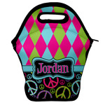 Harlequin & Peace Signs Lunch Bag w/ Name or Text