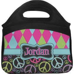 Harlequin & Peace Signs Lunch Tote (Personalized)