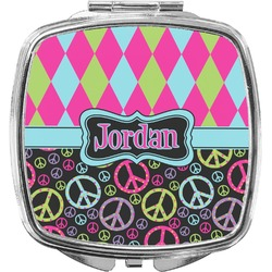 Harlequin & Peace Signs Compact Makeup Mirror (Personalized)