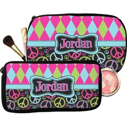 Harlequin & Peace Signs Makeup / Cosmetic Bag (Personalized)