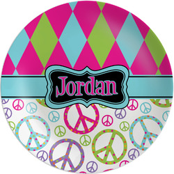 """Harlequin & Peace Signs Melamine Plate - 8"""" (Personalized)"""