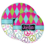 Harlequin & Peace Signs Melamine Plate (Personalized)