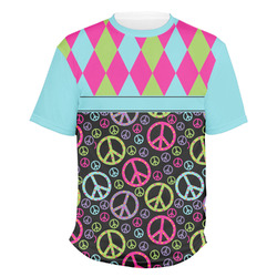 Harlequin & Peace Signs Men's Crew T-Shirt (Personalized)