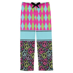 Harlequin & Peace Signs Mens Pajama Pants (Personalized)