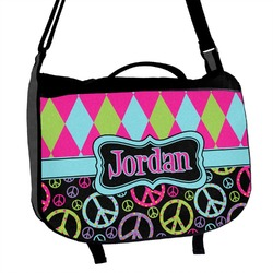 Harlequin & Peace Signs Messenger Bag (Personalized)