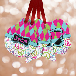 Harlequin & Peace Signs Metal Ornaments - Double Sided w/ Name or Text