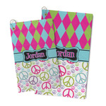 Harlequin & Peace Signs Microfiber Golf Towel (Personalized)