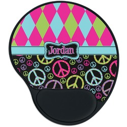Harlequin & Peace Signs Mouse Pad with Wrist Support