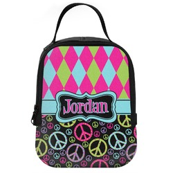 Harlequin & Peace Signs Neoprene Lunch Tote (Personalized)