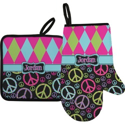 Harlequin & Peace Signs Oven Mitt & Pot Holder Set w/ Name or Text