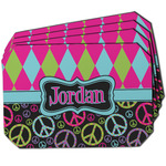 Harlequin & Peace Signs Dining Table Mat - Octagon w/ Name or Text