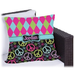 Harlequin & Peace Signs Outdoor Pillow (Personalized)