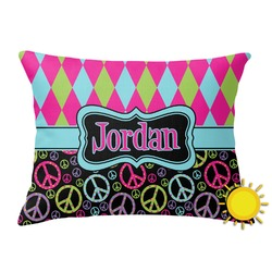 Harlequin & Peace Signs Outdoor Throw Pillow (Rectangular) (Personalized)