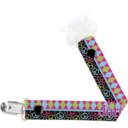 Harlequin & Peace Signs Pacifier Clips (Personalized)