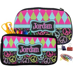 Harlequin & Peace Signs Neoprene Pencil Case (Personalized)