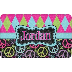 Harlequin & Peace Signs Bath Mat (Personalized)