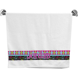 Harlequin & Peace Signs Bath Towel (Personalized)