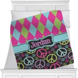 Harlequin & Peace Signs Minky Blanket (Personalized)