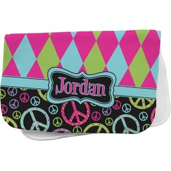 Harlequin & Peace Signs Burp Cloth (Personalized)