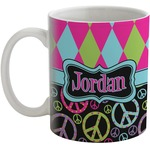Harlequin & Peace Signs Coffee Mug (Personalized)