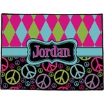 Harlequin & Peace Signs Door Mat (Personalized)