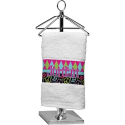 Harlequin & Peace Signs Cotton Finger Tip Towel (Personalized)