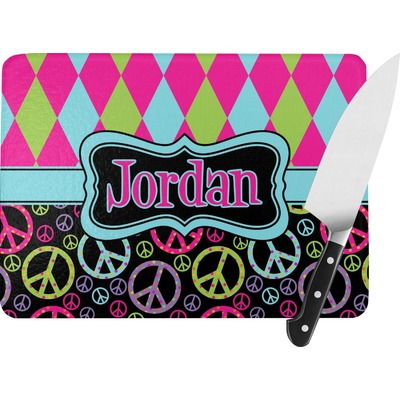 Harlequin & Peace Signs Rectangular Glass Cutting Board (Personalized)