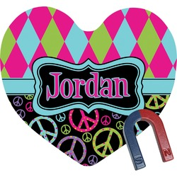 Harlequin & Peace Signs Heart Fridge Magnet (Personalized)