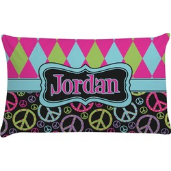 Harlequin & Peace Signs Pillow Case - King (Personalized)