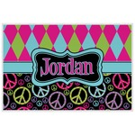 Harlequin & Peace Signs Laminated Placemat w/ Name or Text