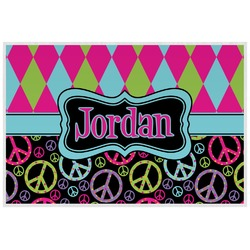 Harlequin & Peace Signs Placemat (Laminated) (Personalized)