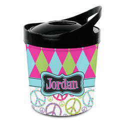 Harlequin & Peace Signs Plastic Ice Bucket (Personalized)